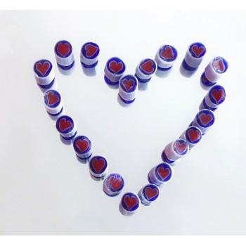 Millefiori Opaque Hearts 4-5 mm