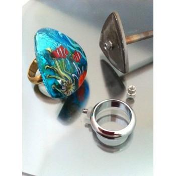 Glass Cabochon Ring made by Yeşim Sanatçı